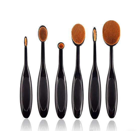 Set 6 Pensule Ovale Profesionale pentru makeup Luxury Edition - Black-big
