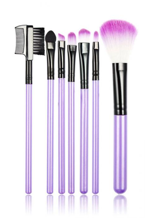 Set 7 Pensule Profesionale Luxury pentru Machiaj - Purple Addicted-big