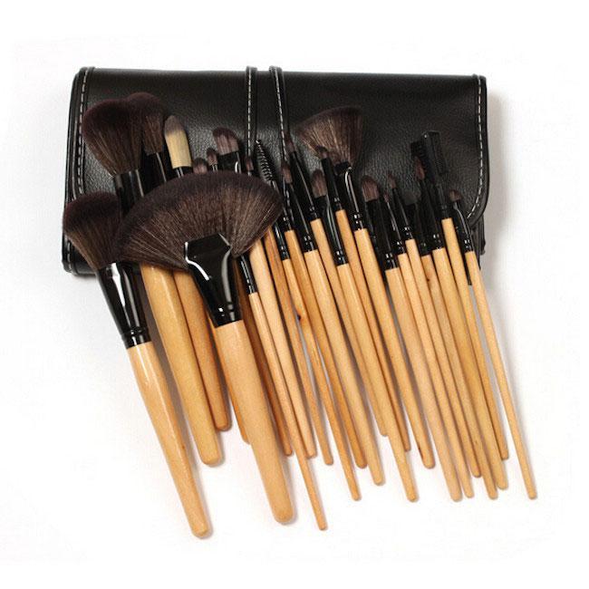 Set de 24 Pensule Profesionale pentru machiaj din par natural, Top Quality Natural Wood-big