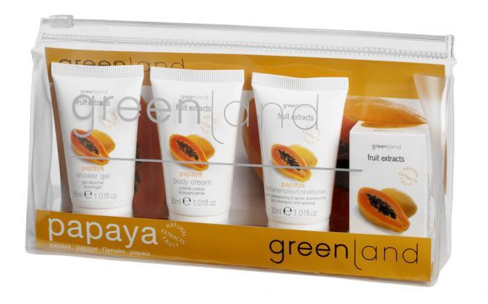 Set Ingrijire Greenland cu Papaya: Gel de Dus, Lotiune de Corp, Sampon-big