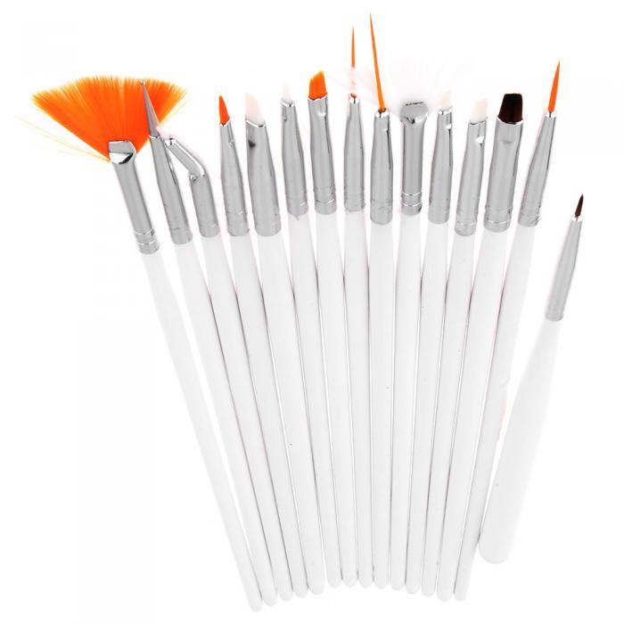 Set 15 Pensule Profesionale Nail Art pentru Pictura Unghiilor - White-big