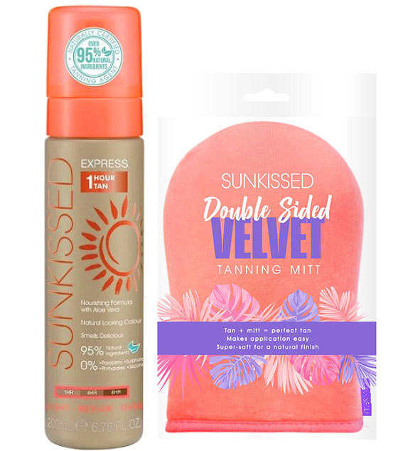 Set pentru autobronzare profesionala SUNKISSED Express 1 Hour, Light-Ultra Dark, 95% Ingrediente Naturale si Manusa-big