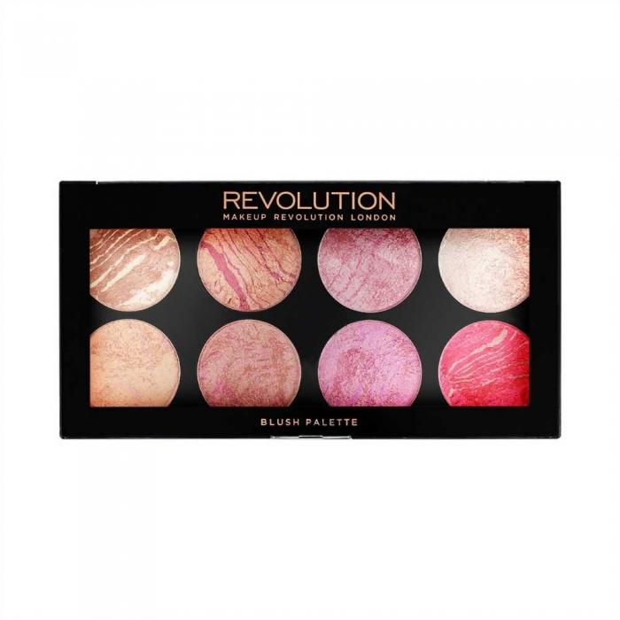 Trusa cu 8 Blushuri MAKEUP REVOLUTION Blush Palette pentru conturare si iluminare - Blush Queen, 13g-big