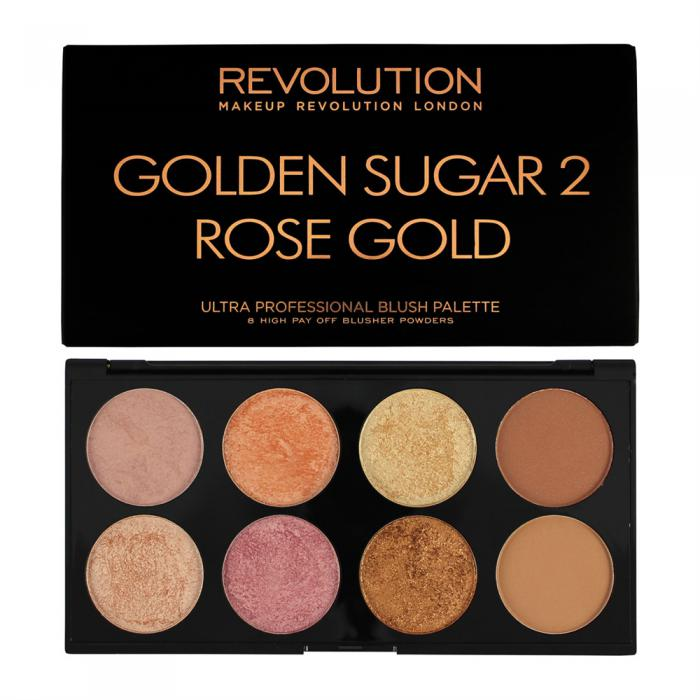 Paleta Cu 8 Blush-uri MAKEUP REVOLUTION Ultra Blush Golden Sugar 2, Rose Gold-big