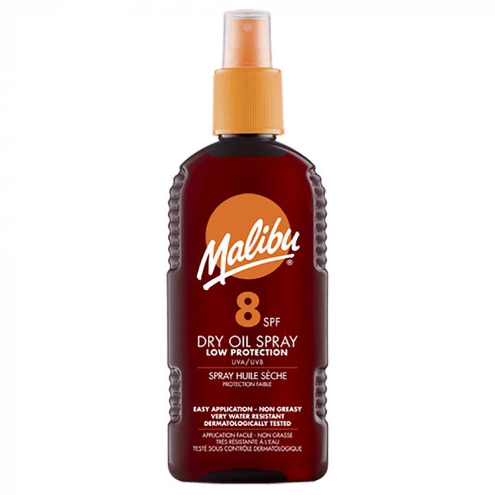Ulei De Plaja MALIBU Dry Oil Spray cu Unt de Shea, UVA/UVB, SPF8, 200 ml-big