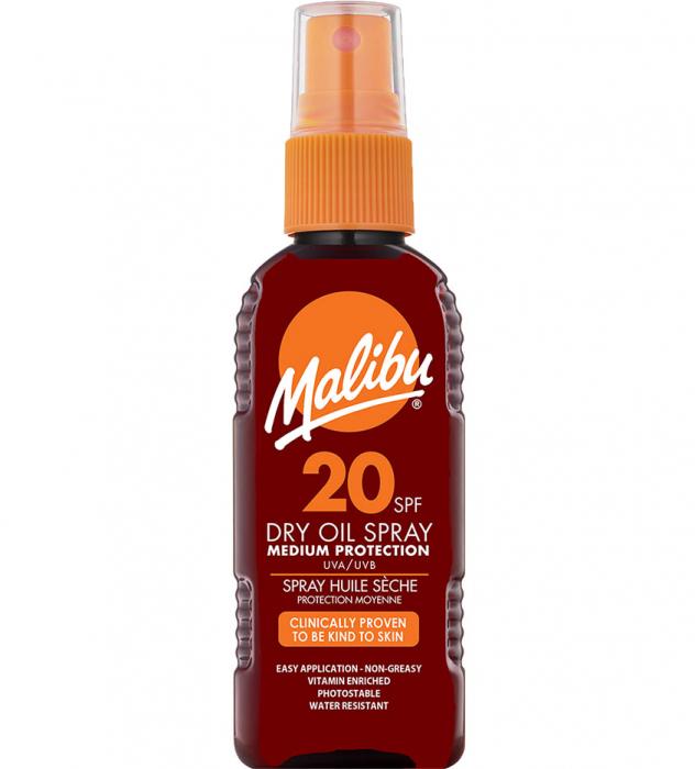 Ulei De Plaja MALIBU Dry Oil Spray, UVA/UVB, SPF20, 100 ml (Travel size)-big