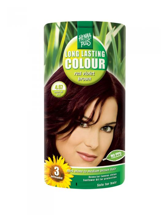 Vopsea de Par HennaPlus Long Lasting Colour - Red Violet Brown 4.67-big