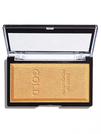 Iluminator compact Makeup Revolution, Ingot Highlighter - Gold, 12g0
