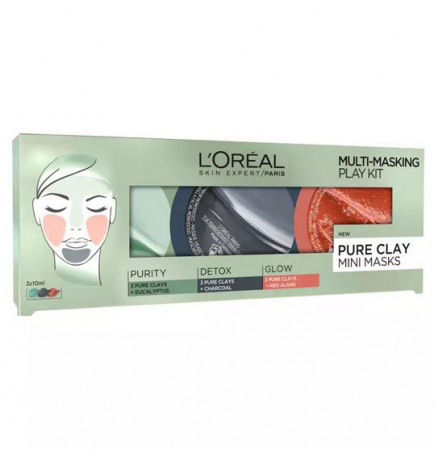 Kit 3 Masti pentru Ten L'Oreal 3 Pure Clays Multi-Masking Face Mask Play Kit, 3 x 10 ml