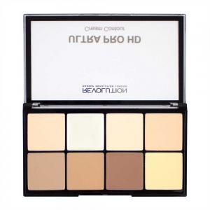 Paleta MAKEUP REVOLUTION HD Pro Cream Contour cu 8 Corectoare Cremoase Pentru Conturare - Fair, 20g