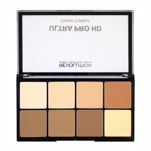 Paleta MAKEUP REVOLUTION HD Pro Cream Contour cu 8 Corectoare Cremoase Pentru Conturare  - Light-Medium, 20g