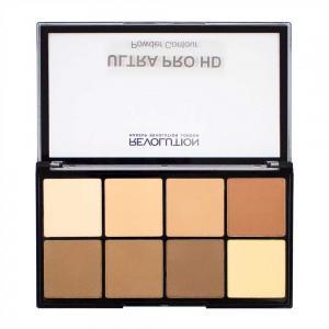 Paleta MAKEUP REVOLUTION HD Pro Powder Contour cu 8 Pudre Pentru Conturare - Light Medium, 20g