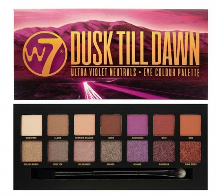 Paleta farduri W7 Dusk Till Dawn Eye Colour Palette, Ultra Violet Neutrals, 14 culori, 9.6g