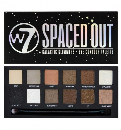 Paleta farduri W7 Spaced Out Galactic Glimmers Eye Contour Palette, 12 culori, 9.6g