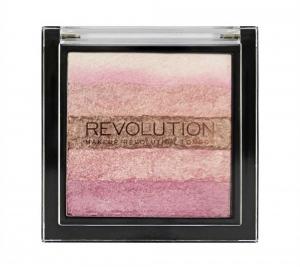 Paleta iluminatoare cu farduri de obraz MAKEUP REVOLUTION Shimmer Brick Pink Kiss, 7g1