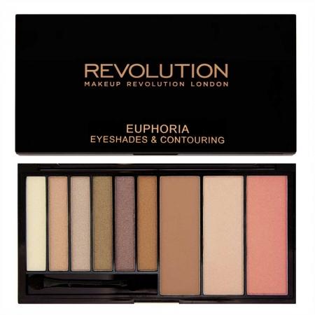 Paleta Makeup Revolution Euphoria Palette cu 6 Farduri si 3 Nuante pentru Conturare si Iluminare, Bronzed