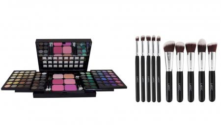 Set Profesional Machiaj LA FEMME Eyeshadow, Blusher Palette 78 Culori si Set 10 Pensule LAROC Kabuki