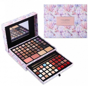 Trusa Profesionala pentru Machiaj Miss Rose Deluxe Shimmer & Matte, 85 culori, Imperial Flowers
