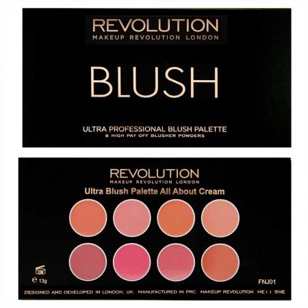 Trusa cu 8 Blushuri Cremoase MAKEUP REVOLUTION Ultra Professional Blush Palette, All About Cream, 13g1