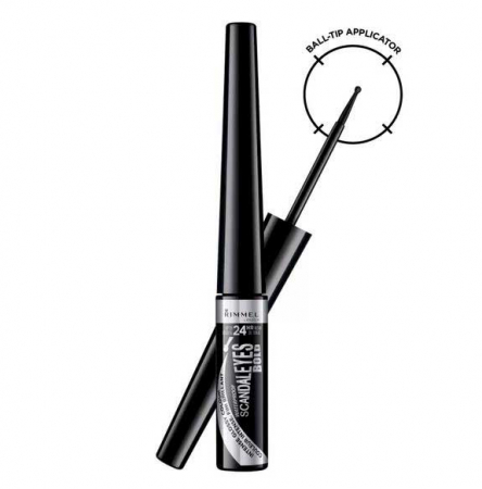 Tus de ochi lichid Rimmel London ScandalEyes Bold Waterproof, Black, 2.5 ml1