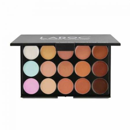 Paleta profesionala cu 15 corectoare, LAROC 15 Natural Concealer Tones Palette
