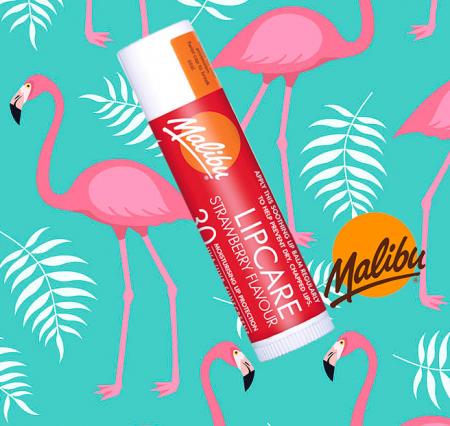 Balsam De Buze Protector Malibu Lipcare, UVA/UVB, SPF 30, Strawberry, 4 g1