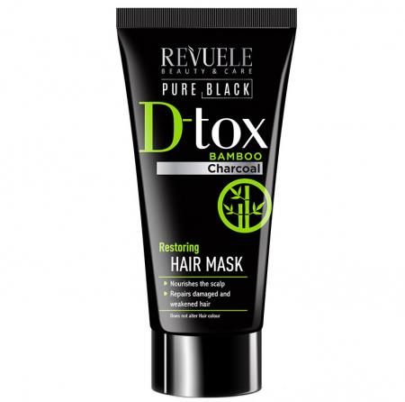 Masca de par detoxifianta cu carbune activ REVUELE Pure Black D-Tox Bamboo Charcoal, Restoring, 200 ml