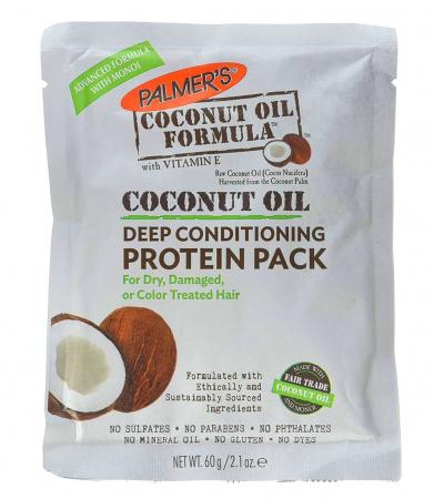 Tratament intensiv par uscat PALMER'S Coconut Oil Formula Protein Pack, Vitamina E, Lapte de cocos, Keratina si Proteine din matase, 60 g