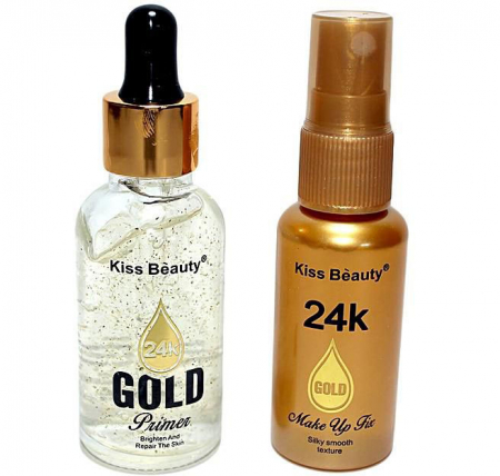 Set Baza de Machiaj cu Particule de Aur 24K Kiss Beauty Gold Primer si Spray Fixator Makeup, 30 ml x 35 ml