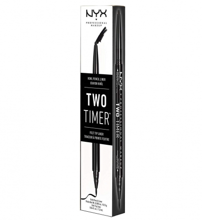 Creion De Ochi NYX Professional Makeup Two Timer Kohl Pencil & Felt Tip Liner, Black