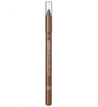 Creion de sprancene rezistent la transfer Rimmel London Scandaleyes, Brow & Liner Kajal, 003 Blazing Bronze