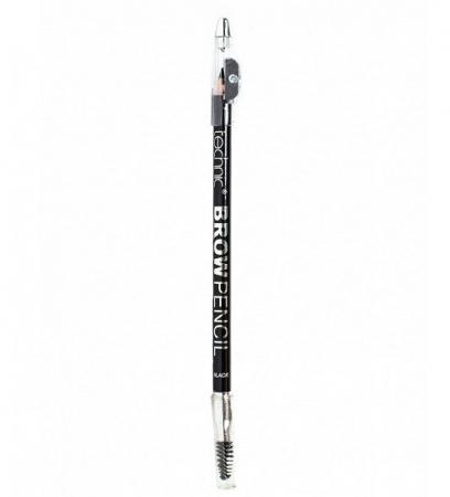 Creion de sprancene Technic Brow Pencil cu ascutitoare si periuta, Black