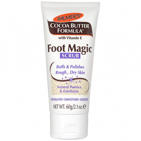 Exfoliant pentru picioare obosite cu piatra ponce naturala PALMER'S Cocoa Butter Formula, Foot Magic Scrub, Vitamina E, 60 g