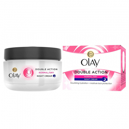 Crema De Noapte pentru Ten Normal/Uscat OLAY Double Action Nourishing Hydration + Moisture Lock Protection, 50 ml