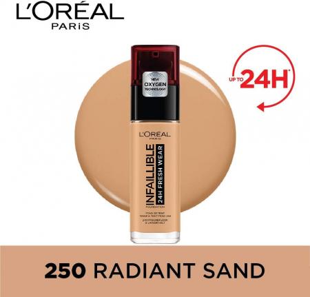 Fond de ten L'Oreal Paris Infaillible 24H Fresh Wear, 250 Radiant Sand, 30 ml1