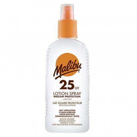Lotiune Spray MALIBU cu Vitamina E si B5, Rezistenta la apa, UVA/UVB, SPF25, 200 ml