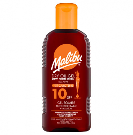 Gel De Plaja MALIBU Bronzing Dry Oil Gel cu Caroten, UVA/UVB, SPF10, 200 ml