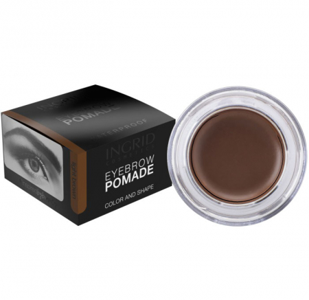 Gel Profesional pentru Sprancene INGRID Eyebrow Pomade Waterproof, Dark Brown, 5g