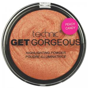 Iluminator cu particule irizante Technic Get Gorgeous Highlighting Powder - Peach Candy, 12g