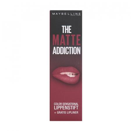 Kit Buze Maybelline The Matte Addiction Color Sensational: Ruj 10 Nocturnal Rose si Creion de Buze 56 Almond Rose1