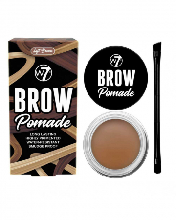 Kit cu Gel pentru Sprancene si Pensula dubla, W7 Brow Pomade, Soft Brown, 4.25 g