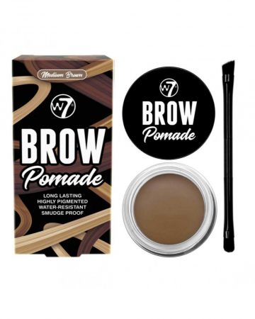 Kit cu Gel pentru Sprancene si Pensula dubla, W7 Brow Pomade, Medium Brown, 4.25 g
