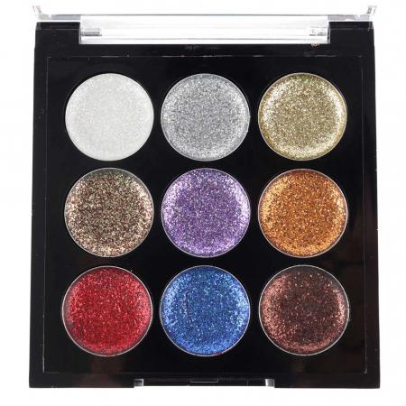 Paleta Sclipici cu 9 Glittere Multifunctionale USHAS Rainbow Glitter, 010