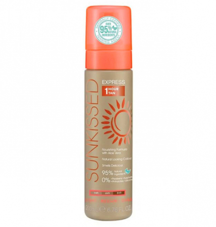 Spuma Autobronzanta Profesionala SUNKISSED Express 1 Hour, Light-Ultra Dark, 95% Ingrediente Naturale, 200 ml