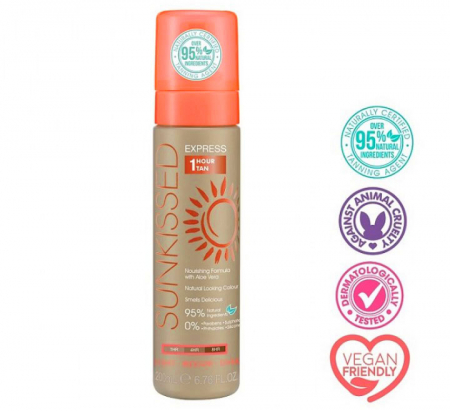 Spuma Autobronzanta Profesionala SUNKISSED Express 1 Hour, Light-Ultra Dark, 95% Ingrediente Naturale, 200 ml2