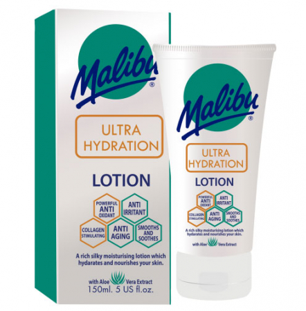 Lotiune After Sun Anti-Age cu multiple beneficii MALIBU Ultra Hydration, 150ml