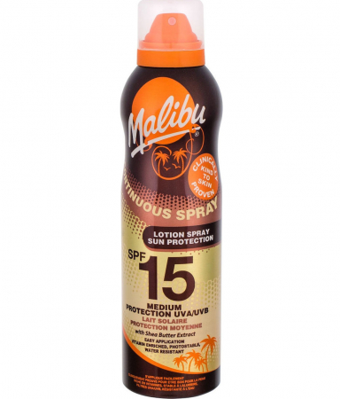 Lotiune Spray MALIBU Continuous Spray, Rezistenta la apa, UVA/UVB, SPF15, 175 ml