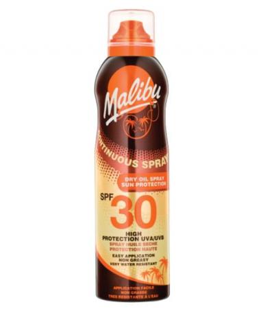 Ulei de Plaja MALIBU Continuous Spray Dry Oil, Rezistenta la apa, UVA/UVB, SPF30, 175 ml