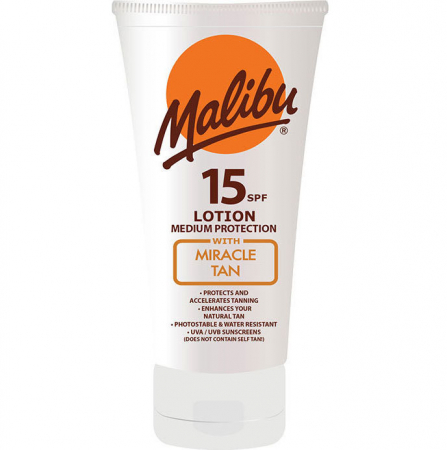 Lotiune Protectie Solara Acceleratoare MALIBU Miracle Tan, SPF 15, 150ml1