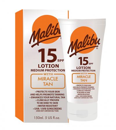 Lotiune Protectie Solara Acceleratoare MALIBU Miracle Tan, SPF 15, 150ml